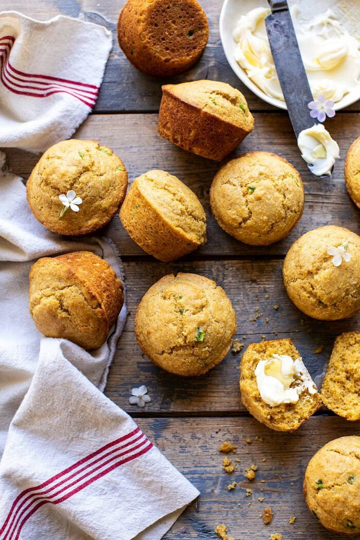 overhead photo of Browned Butter Jalapeño Cornbread Muffins