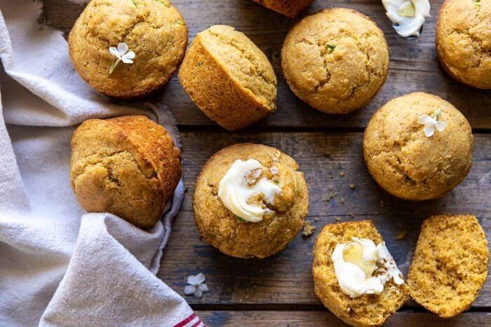 horizontal photo of Browned Butter Jalapeño Cornbread Muffins