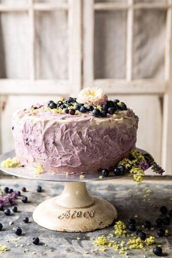 Bursting Blueberry Lemon Layer Cake | halfbakedharvest.com #bleberrycake #layercake #summerrecipes #dessert