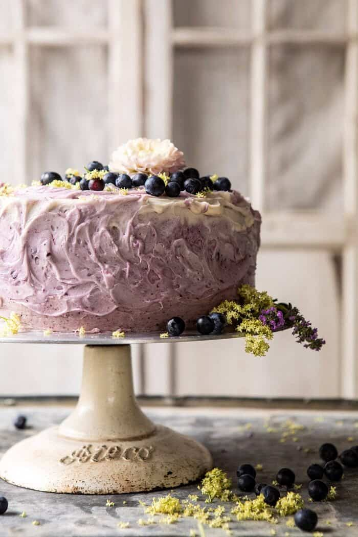 close up front on photo of Bursting Blueberry Lemon Layer Cake