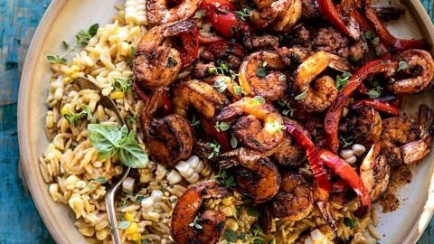 Cajun Pepper Shrimp with Creamed Corn Orzo.