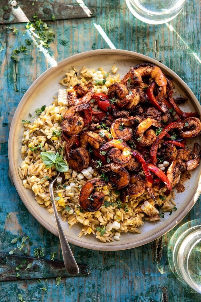 Cajun Pepper Shrimp with Creamed Corn Orzo | halfbakedharvest.com #shrimp #summerrecipes #corn #30minutes