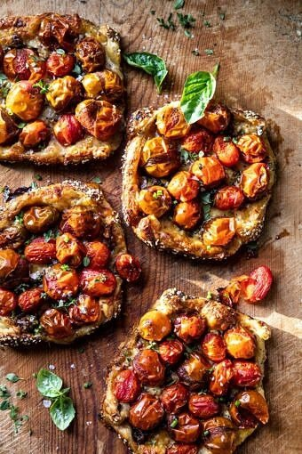 Caramelized Onion and Balsamic Tomato Tarts | halfbakedharvest.com #tomato #easyrecipes #tarts #everythingbagel #summer #summerrecipes
