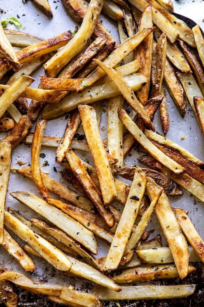 Garlic Fries on baking sheet