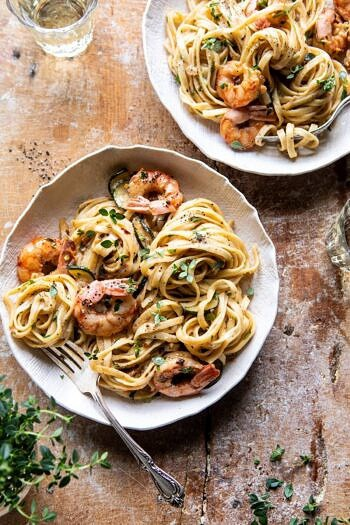 Garden Herb Shrimp Scampi Linguine | halfbakedharvest.com #pasta #shrimp #easyrecipes #summerrecipes