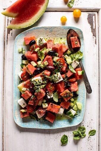 Greek Watermelon Feta Salad with Basil Vinaigrette | halfbakedharvest.com #watermelon #summerrecipes #easyrecipes #healthy