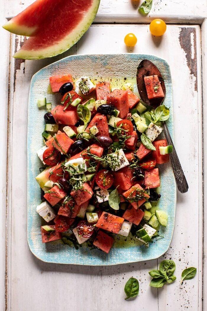 overhead photo of Greek Watermelon Feta Salad with Basil Vinaigrette
