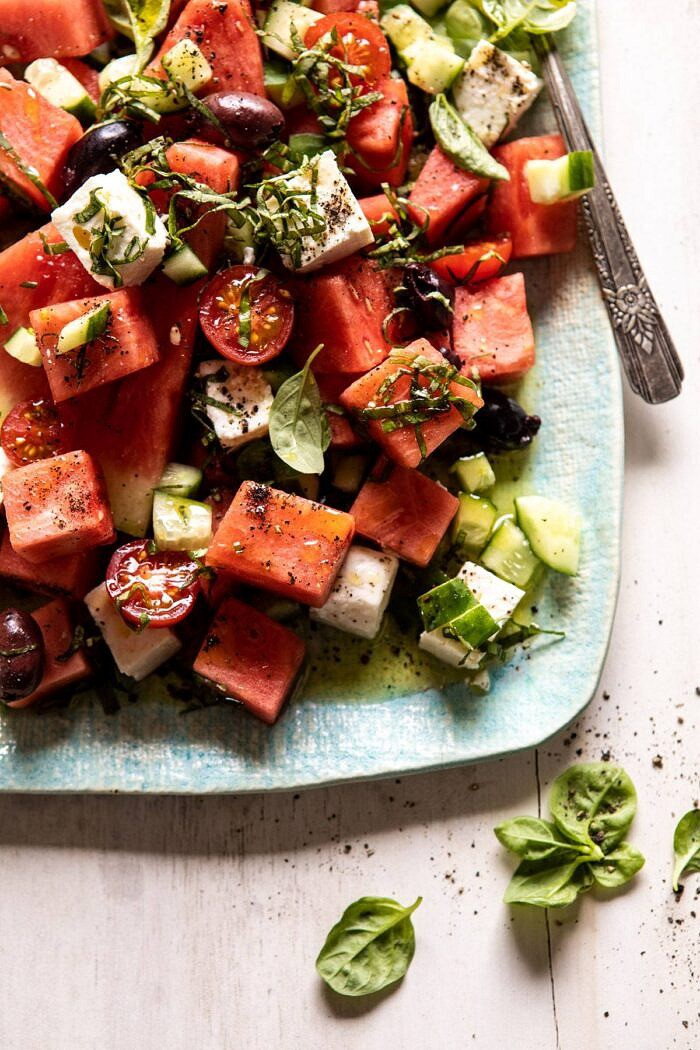 overhead close up photo of Greek Watermelon Feta Salad with Basil Vinaigrette