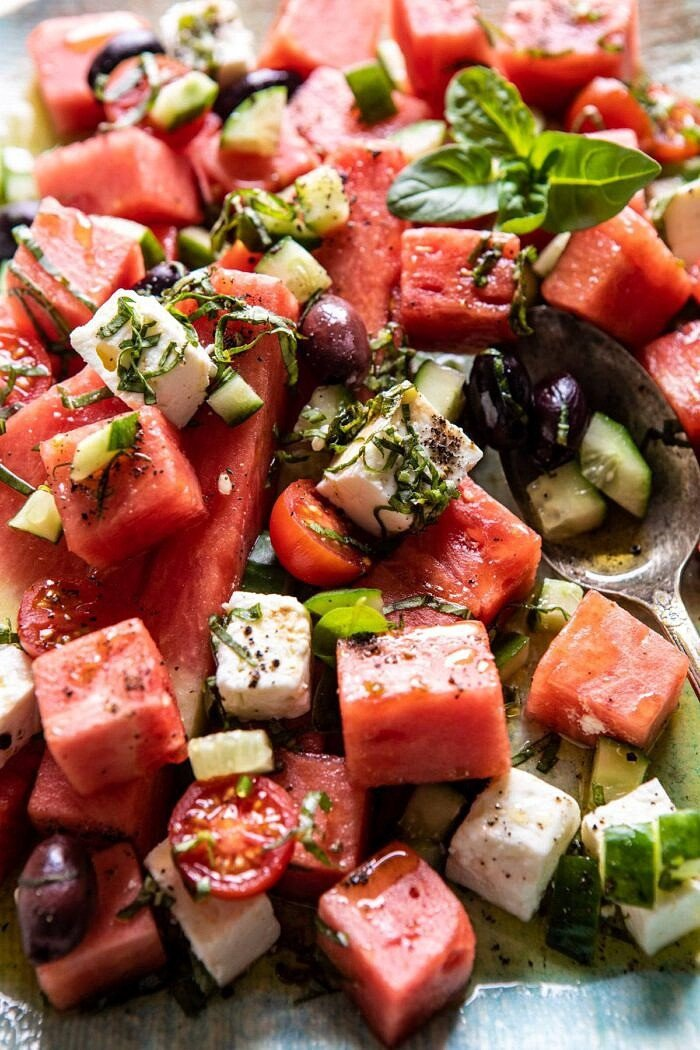 Greek Watermelon Feta Salad with Basil Vinaigrette | halfbakedharvest.com #watermelon #summerrecipes #easyrecipes #healthy