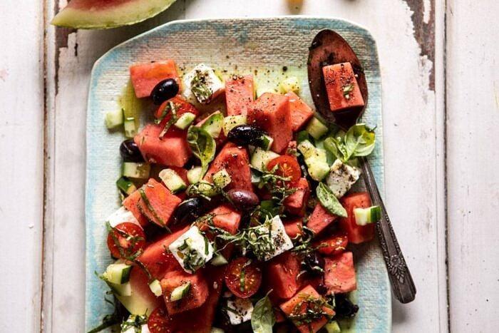 horizontal photo of Greek Watermelon Feta Salad with Basil Vinaigrette