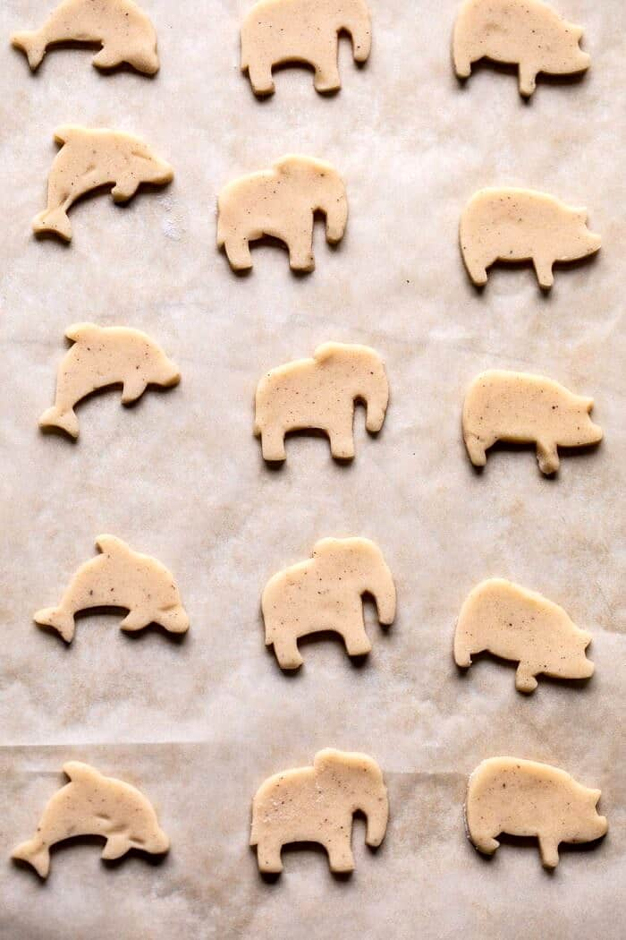 Homemade Animal Cracker on baking sheet before baking