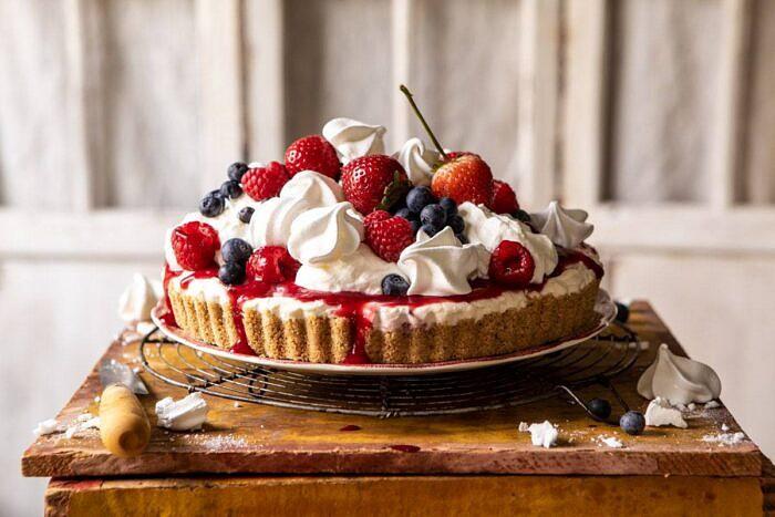 horizontal photo of No-Bake Eton Mess Berry Cheesecake