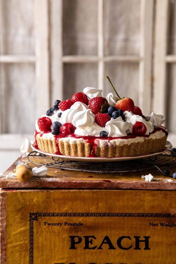 head on photo of No-Bake Eton Mess Berry Cheesecake