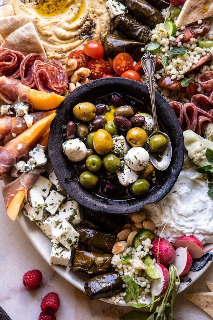 overhead close up photo of No Fuss Farmers Market Mezze Platter
