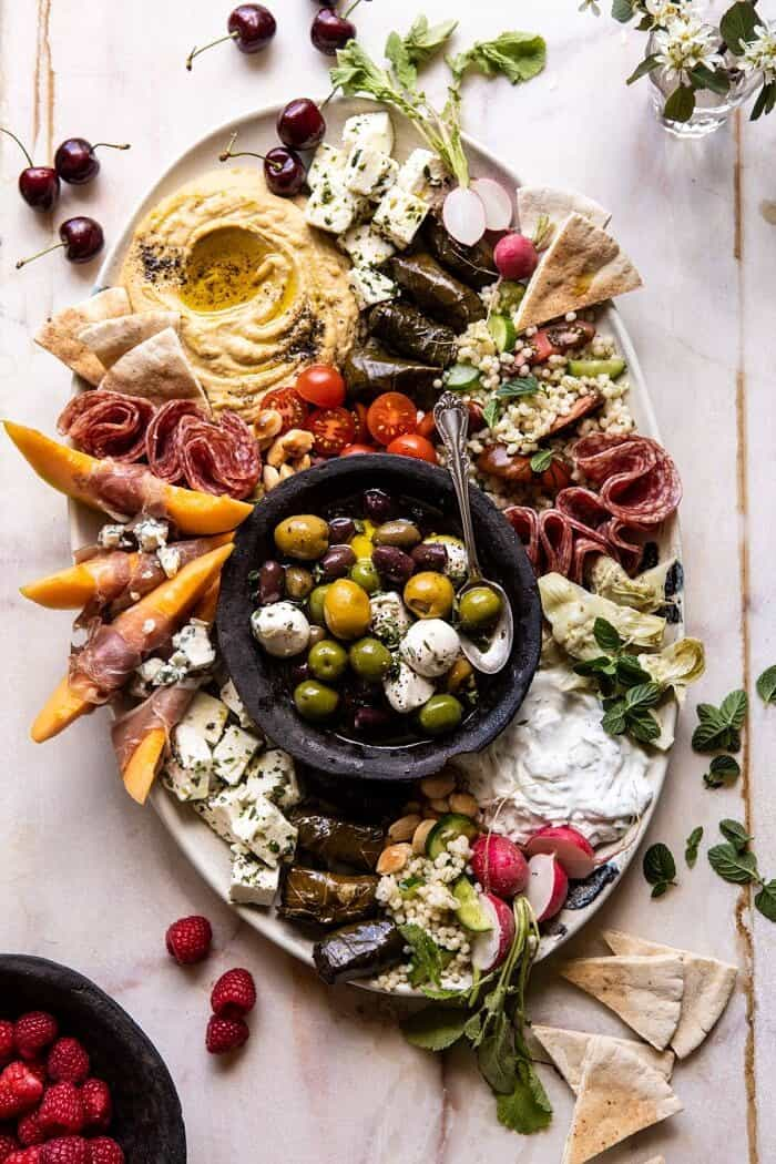overhead photo of No Fuss Farmers Market Mezze Platter