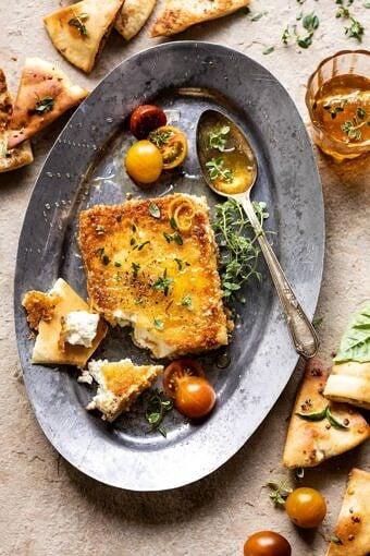 Pan-Fried Feta with Peppered Hone | halfbakedharvest.com #appetizers #easyrecipes #summerrecipes