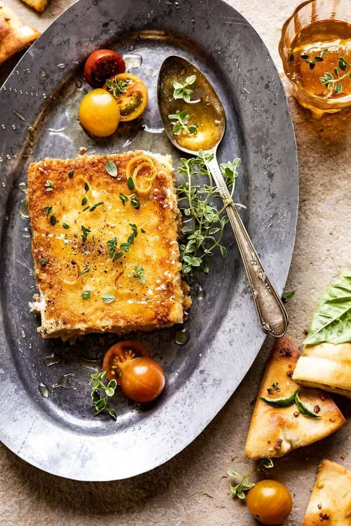 overhead close up photo of Pan-Fried Feta with Peppered Honey