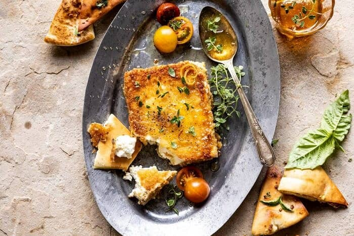 horizontal photo of Pan-Fried Feta with Peppered Honey