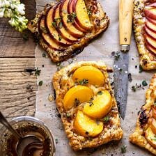 Peach Thyme Tarts | halfbakedharvest.com #peach #cheese #summer #appetizer