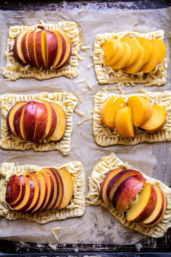 Peach Thyme Tarts on baking sheet before baking