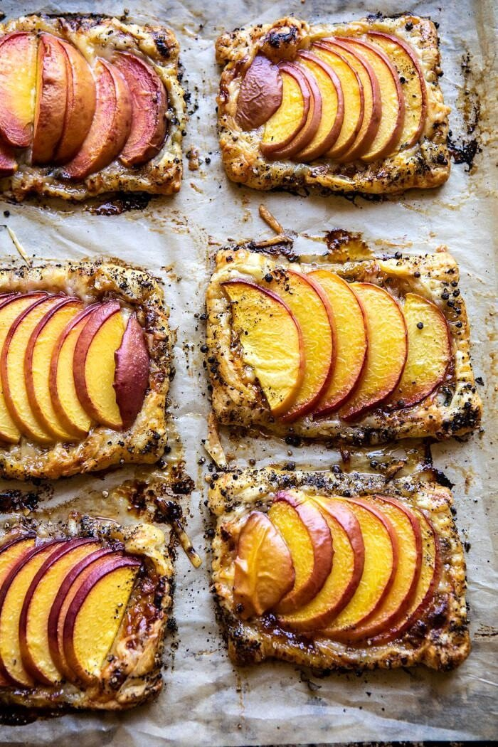 Peach Thyme Tarts on baking sheet after baking