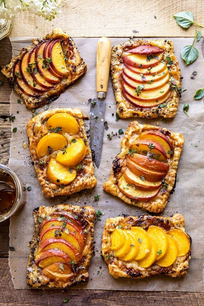 overhead photo of Peach Thyme Tarts