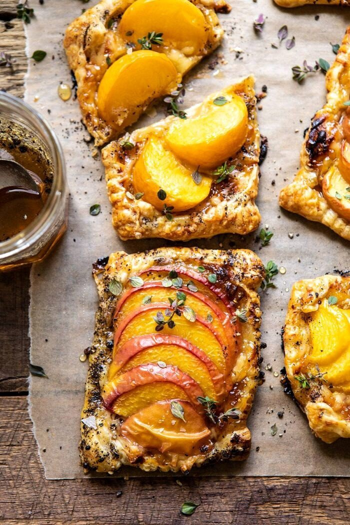 overhead close up photo of Peach Thyme Tarts