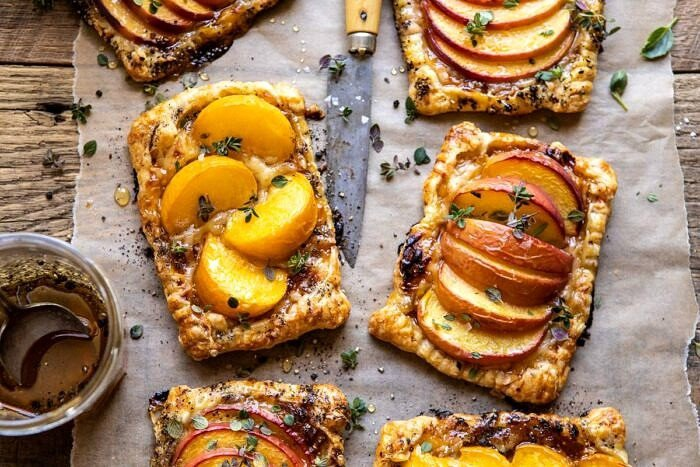horizontal photo of Peach Thyme Tarts