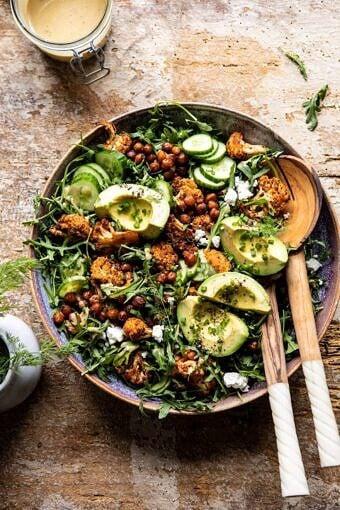 Roasted Cauliflower Salad with Creamy Honey Mustard Vinaigrette | halfbakedharvest.com #healthyrecipes #salad #cauliflower