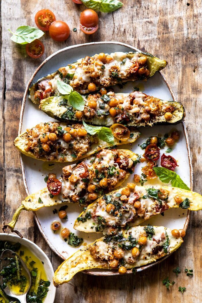 Spicy Chickpea and Cheese Stuffed Zucchini.