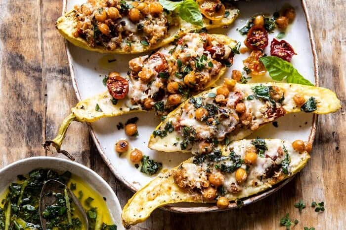 horizontal photo of Spicy Chickpea and Cheese Stuffed Zucchini