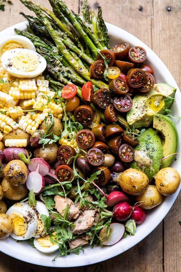 overhead close up photo of Summer Niçoise Salad in bowl