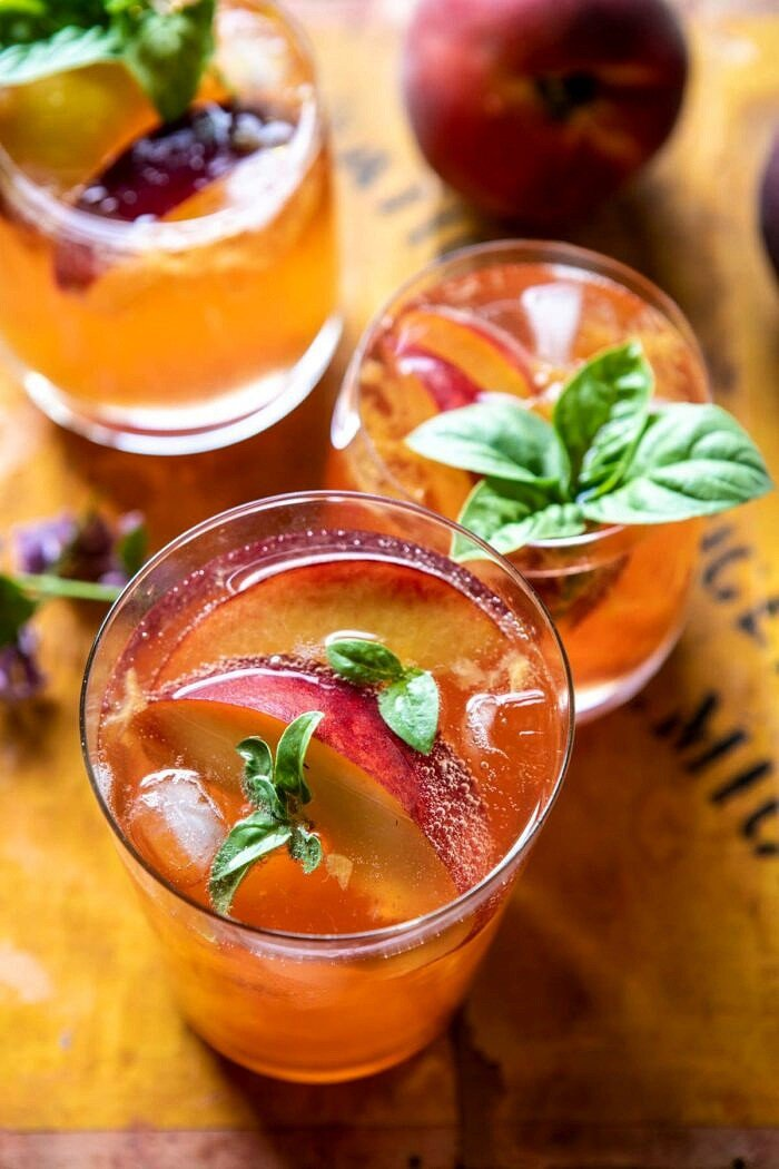 Balsamic Peach Spritz | halfbakedharvest.com #peach #peaches #wine #cocktail #drinks