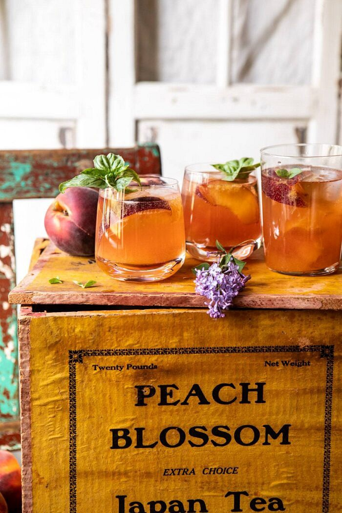 side angled photo of Balsamic Peach Spritz