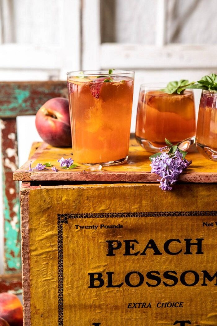 side angled photo of Balsamic Peach Spritz on peach box