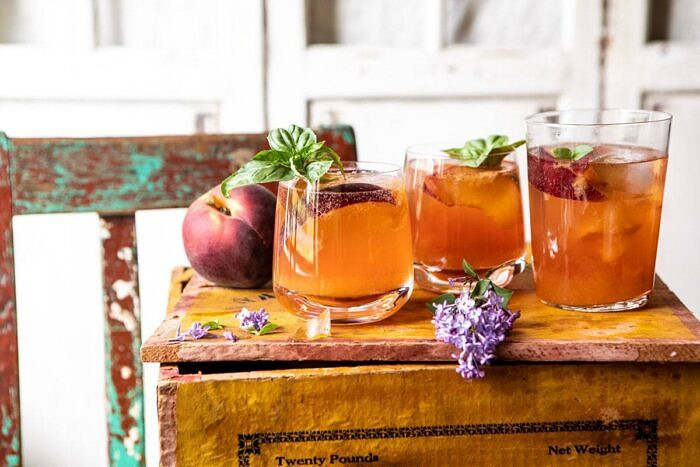 horizontal front on photo of Balsamic Peach Spritz