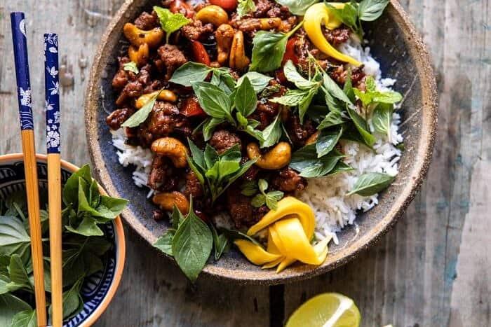 horizontal photo of Better Than Takeout Sweet Thai Basil Chicken