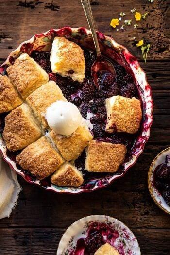 Blackberry Lavender Cobbler | halfbakedharvest.com #cobbler #blackerry #dessert