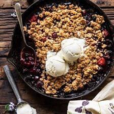Buttery Cherry Berry Skillet Crisp.