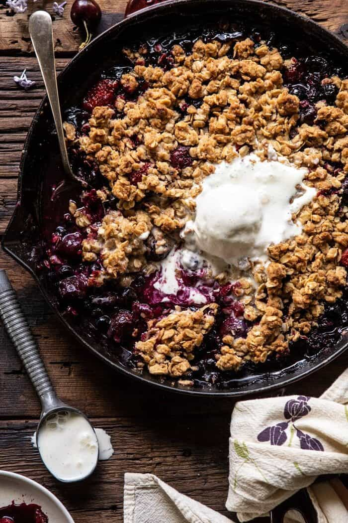 overhead close up photo of Buttery Cherry Berry Skillet Crisp