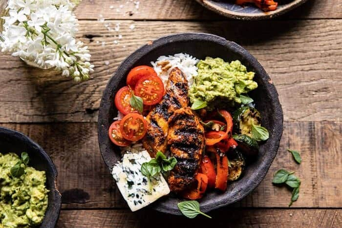 horizontal photo of California Chicken, Veggie, Avocado and Rice Bowls