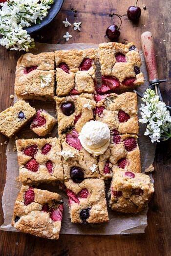 Cherry Strawberry Streusel Cake | halfbakedharvest.com #easyrecipes #cake #sheetcake #summerdessert