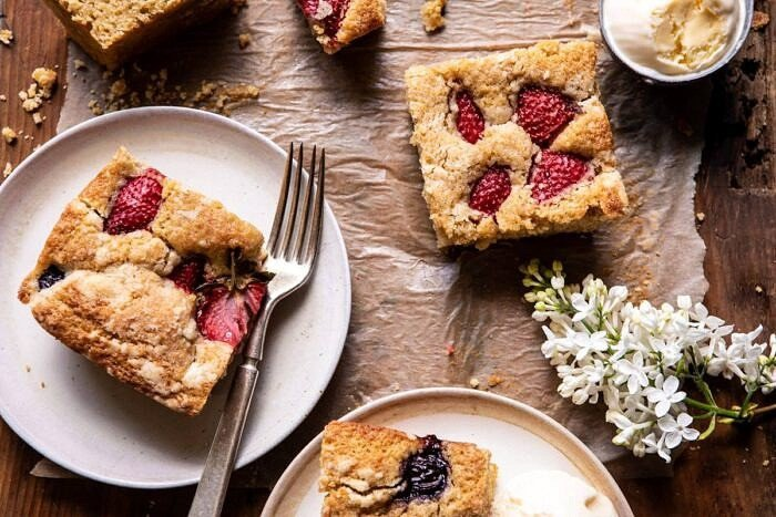 horizontal photo of Cherry Strawberry Streusel Cake pieces