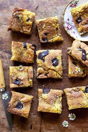 Crème Fraîche Chocolate Chunk Cookie Bars | halfbakedharvest.com #cookies #chocolatechipcookies #cookiebar