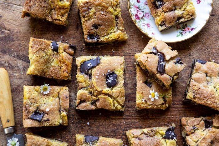 horizontal photo of Crème Fraîche Chocolate Chunk Cookie Bars