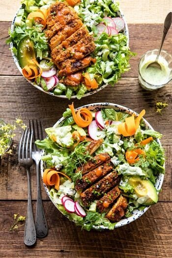 Crispy Buffalo Ranch Chicken Salad with Goddess Dressing | halfbakedharvest.com #buffalochicken #salad #healthy #dinner