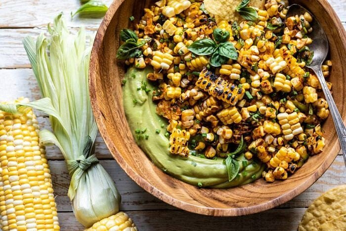 horizontal overhead photo of Grilled Street Corn Salad with Avocado Mayo
