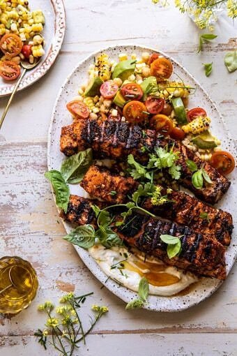 Lemon Parmesan Salmon with Corn, Tomato, and Avocado Salad | halfbakedharvest.com #salmon #grillingrecipes #dinner