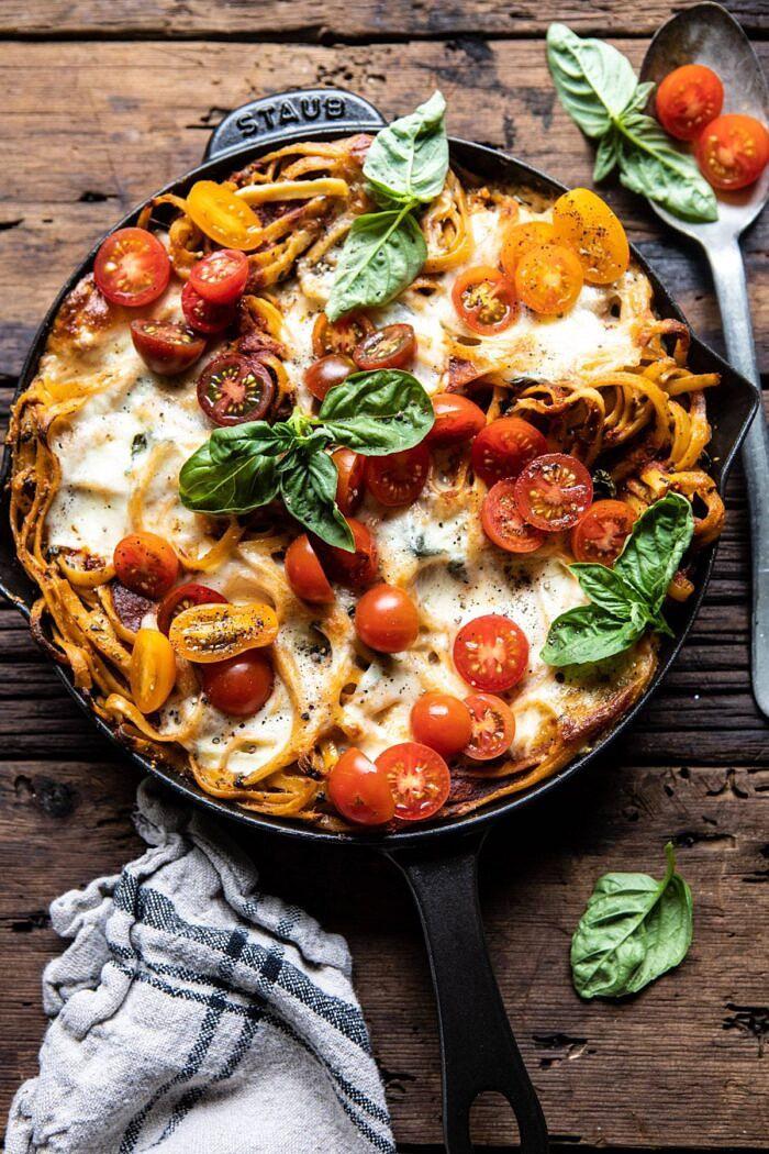 One Pot 30 Minute Creamy Tomato Basil Pasta Bake | halfbakedharvest.com #pasta #summerrecipes #onepot
