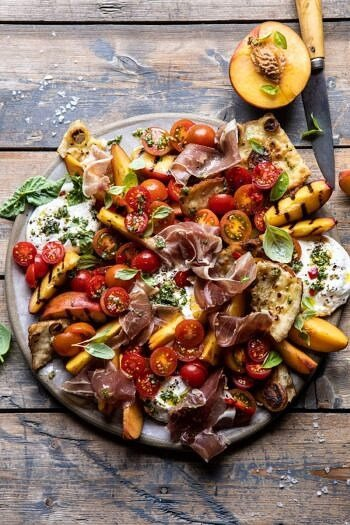 Peach Caprese Salad with Toasted Garlic Naan.